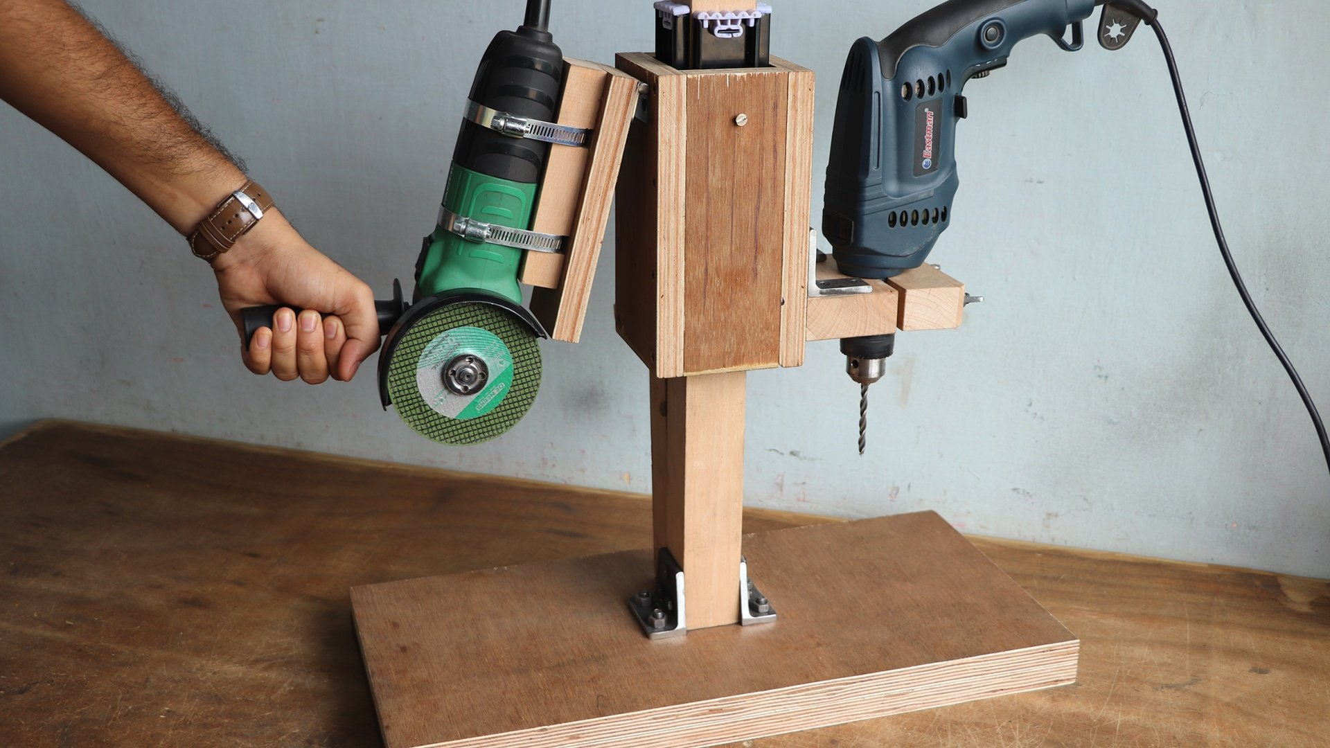 2 In 1-Drill Press And Angle Grinder Stand